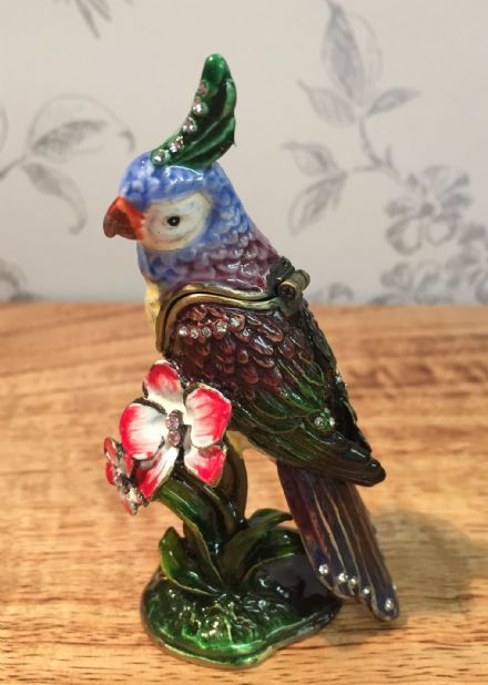 Colourful Parrot Metal & Enamel Trinket Box Jewellery Holder